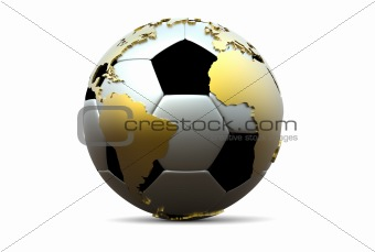 3d soccer ball with golden continents