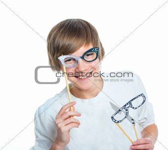 Portrait of young beautiful boy with glasses