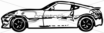 Sports car - rough monochrome vector