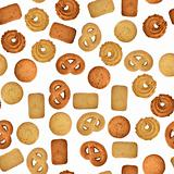 Butter cookies on white - seamless texture