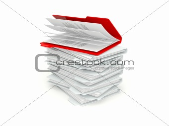 Batch of folders with different red one isolated on white