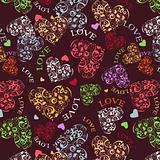 Decorative seamless with heart patterns
