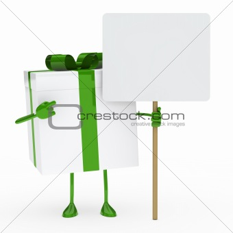 green white gift box billboard