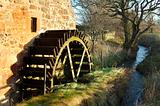 old mill wheel and stream at Preston Mill, East Linton