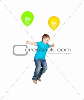 Adorable child flying with two balloons