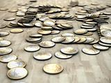 euro coins on wooden floor