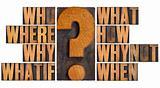 questions in letterpress wood type