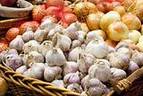 Garlic and Onion Bulbs Closeup