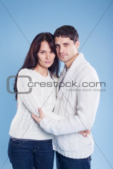 romantic young couple standing together