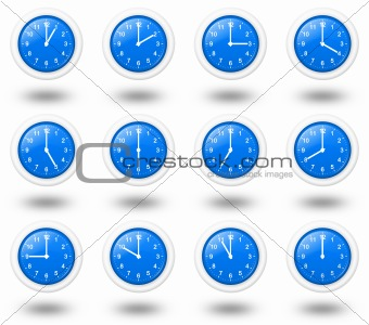 Time Zone Clocks Illustration