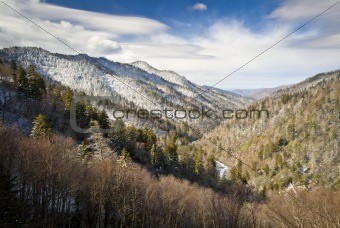 Gatlinburg Great Smoky Mountains National Park Winter Overlook Snow Landscape