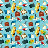 Cartoon school icons seamless pattern