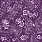 Violet floral vintage pattern
