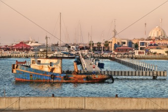 Old rusty ship. Ashkelon, Israel.