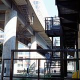 Stairway to elevated highway