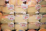 Cheese stall at La Boqueria market Barcelona