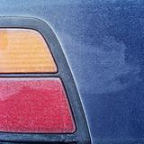 Frost covered car taillight