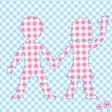 Background with two children, colored table cloth