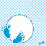 Blue background with baby footsteps