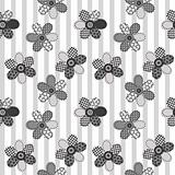 Textile patchwork flowers background seamless pattern