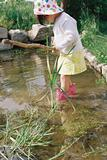 Girl wading in a pond