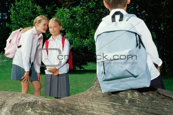Schoolgirls whispering about a boy