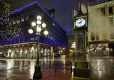 Gastown Steam Clock on a Rainy Night