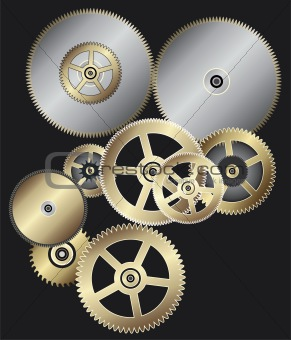 vector background of clock gears