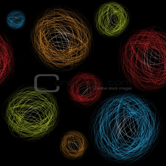 Seamless background hand-drawn circles. Vector