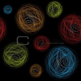 Seamless background hand-drawn circles. Vector