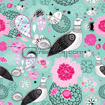 flower texture with fantastic birds