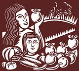 woman and child holding apple fruit vegetable