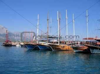 Sailing vessels in the harbor of the Turkish city