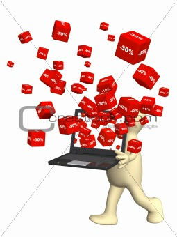 Laptop and red boxes with the goods at a discount