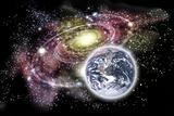 Planet earth and galaxy in the background