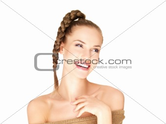 Beautiful woman isolated on white