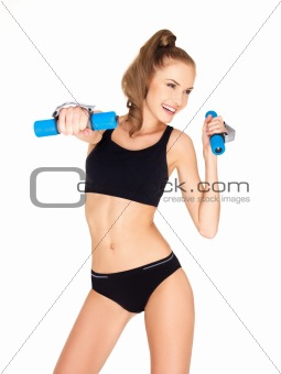 Fitness woman in black sports clothes