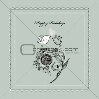 Greeting card with plants and birds
