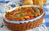 Home sausages with beans