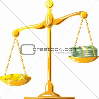 vector unbalanced gold scale with coins and banknotes
