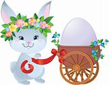 Easter Bunny with egg in a small cart