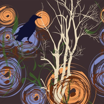 Abstract background with tree and crow