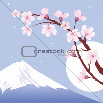 vector Mount Fuji, moon and branches of sakura (cherry)