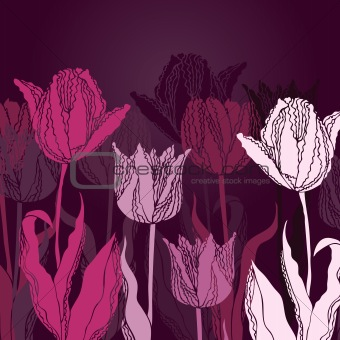 Vector background with tulips