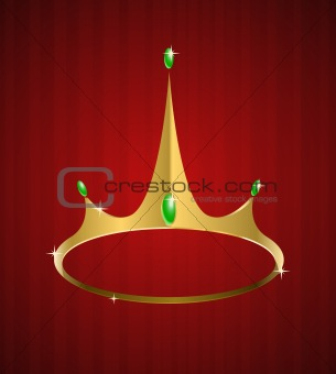 Vector golden crown with diamonds
