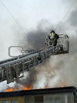 Fireman working