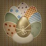 vector  easter greeting card with golden and retro colorful eggs