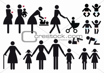 mother and children, vector icon set