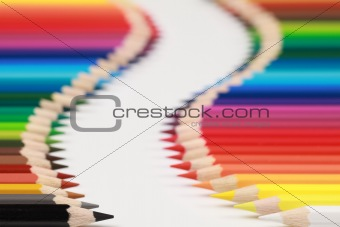 Crayons form an alley