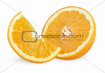 Slice and half of ripe orange
